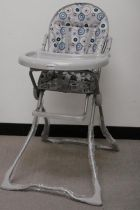 High Chair Blue Gray Circles