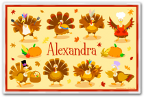 Personalized Placemat Thanksgiving Turkeys