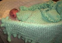 Mint Green Hand Crocheted Baby Blanket