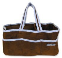 Brown Ultrasuede with Blue Trim Storage Caddy