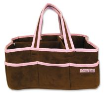 Brown Ultrasuede with Pink Trim Storage Caddy