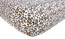 Leopard Print Cream Flannel Crib Sheet