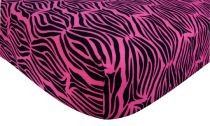 Zebra Print Pink Flannel Crib Sheet